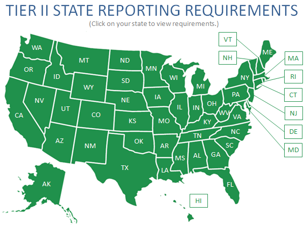 Tier 2 State Reporting Map